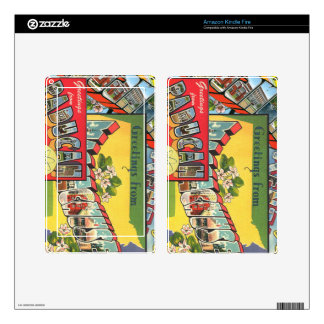 Retro Vacation Cards Skins For Kindle Fire