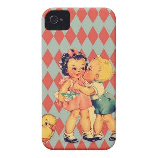 Retro Valentine Kitsch Vintage Kids Case-Mate iPhone 4 Case