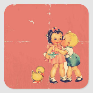 Retro Valentine Kitsch Vintage Kids Square Sticker