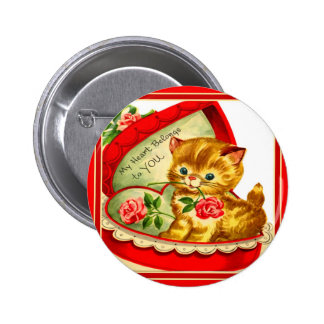 Retro Valentine ~ Kitten In a Heart-Shaped Box Pinback Buttons