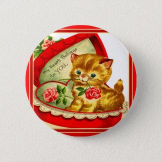 Retro Valentine ~ Kitten In a Heart-Shaped Box Pinback Button
