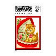 Retro Valentine Kitten Postage