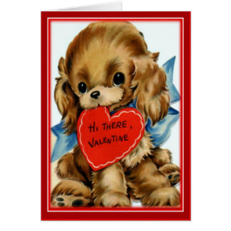Retro Valentine Puppy- Valentines Greeting Card