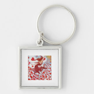 Retro Valentine's fairy - Romantic read hearts Keychain