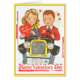 Retro Valentine Teenagers in Jalopy Greeting Card