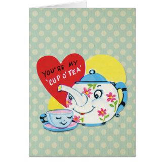 Retro Valentines Day Cute Tea Set Blue Polka Dots Card