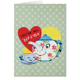 Retro Valentines Day Cute Tea Set Blue Polka Dots Greeting Card