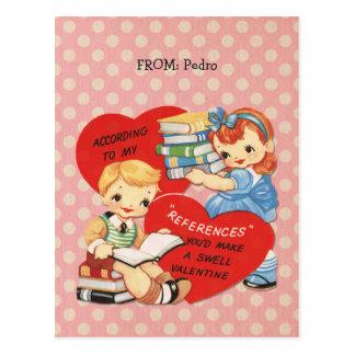 Retro Valentines Day Kids Books Pink Polka Dots Postcard