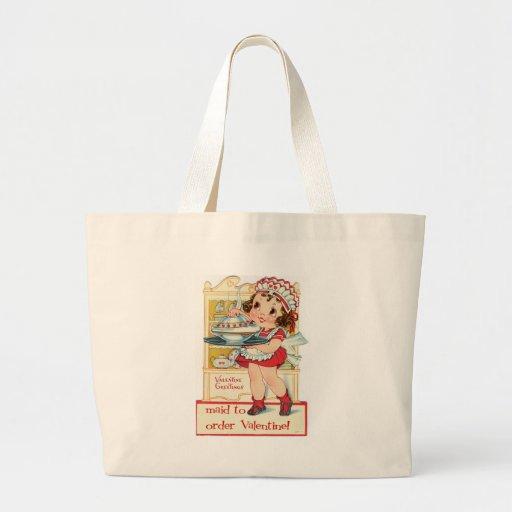 Retro Valentine's Day Maid Jumbo Tote Bag