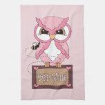 Retro Valentine's Day Owl Kitchen Towels