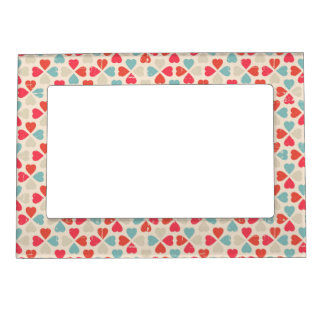 Retro Valentine's Day Pattern Picture Frame Magnet