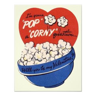 Retro Valentines Day, Popcorn Pop a Corny Question Card