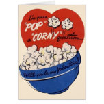 Retro Valentines Day, Popcorn Pop a Corny Question Greeting Card