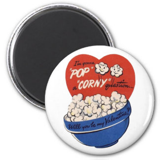Retro Valentines Day, Popcorn Pop a Corny Question Magnet