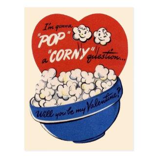 Retro Valentines Day, Popcorn Pop a Corny Question Postcard