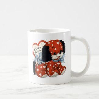 Retro Valentines Day Puppy Classic White Coffee Mug