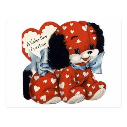 Retro Valentines Day Puppy Postcard