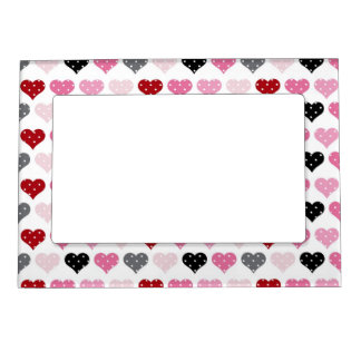 Retro Valentine's Hearts Photo Frame Magnet
