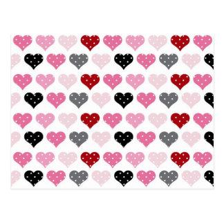 Retro Valentine's Hearts Postcard