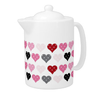 Retro Valentine's Hearts Teapot