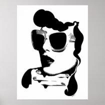 artsprojekt, woman, fashion, black, white, vamp, retro, vintage, 60s, sunglass, minimalism, diva, courreges, chic, minimalist, design, female, beauty, girl, illustration, line, ink, drawing, exotic, modern, contemporay, intensity, glamour, ring, Cartaz/impressão com design gráfico personalizado