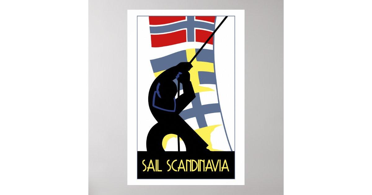 Retro vector art deco style sail scandinavia poster zazzle for Style retro deco