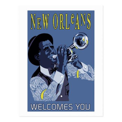 Retro vector Art New Orleans jazz trumpet player Postcards