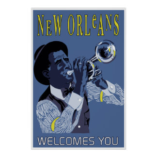 Retro vector Art New Orleans jazz trumpet player Poster