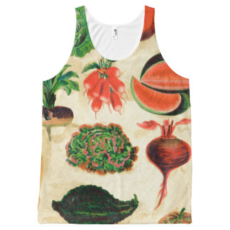 Retro Veggie Distressed Vegetables Stained Garden All-Over Print Tank Top