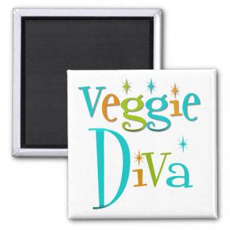 Retro Veggie Diva 2 Inch Square Magnet