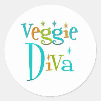 Retro Veggie Diva Classic Round Sticker