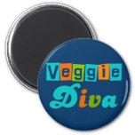 Retro Veggie Diva Magnets