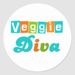Retro Veggie Diva Round Sticker