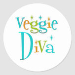 Retro Veggie Diva Sticker