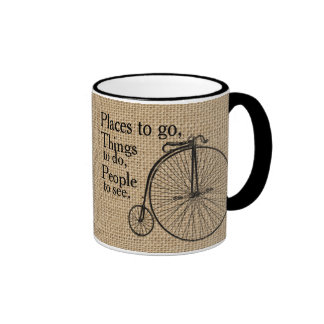 Retro Velocipede Bike Burlap Ringer Coffee Mug