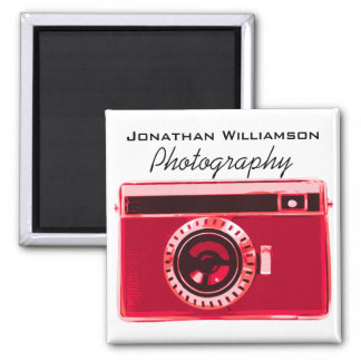 Retro Velvet Red Camera Photography Business 2 Inch Square Magnet