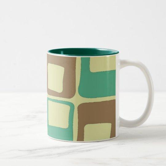 Retro (verde) taza de café de dos colores