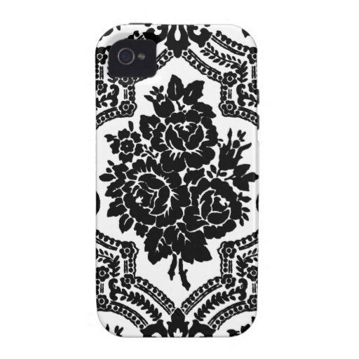 Retro victorian floral print, black and white. case for the iPhone 4