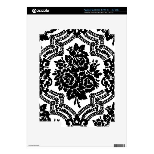 Retro victorian floral print, black and white. iPad 3 decal