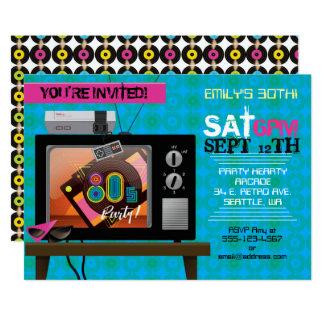 Retro Video Game Arcade 80's Birthday Party Invite