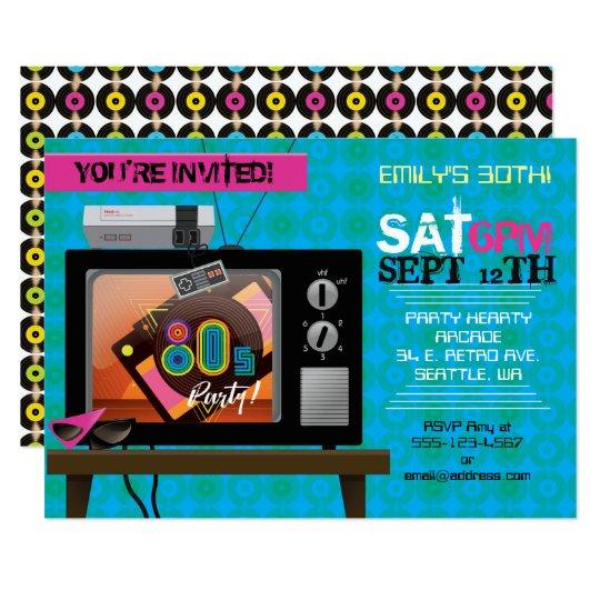 Retro Video Game Arcade 80 S Birthday Party Invite Zazzle Com