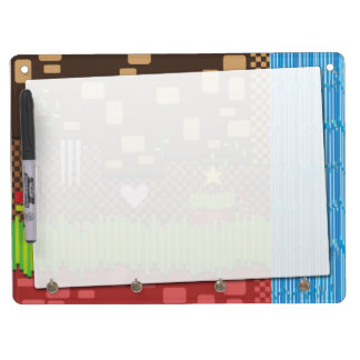 Retro video game dry erase board with keychain holder