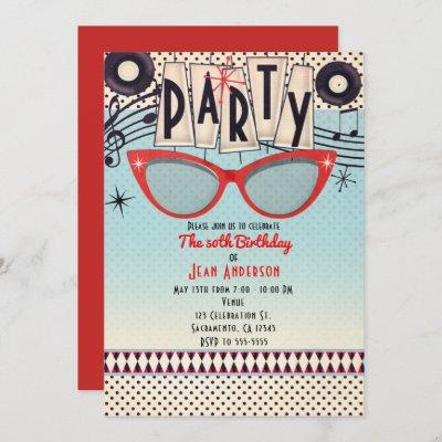 Retro Vintage 1950's Fifties Party Invitations