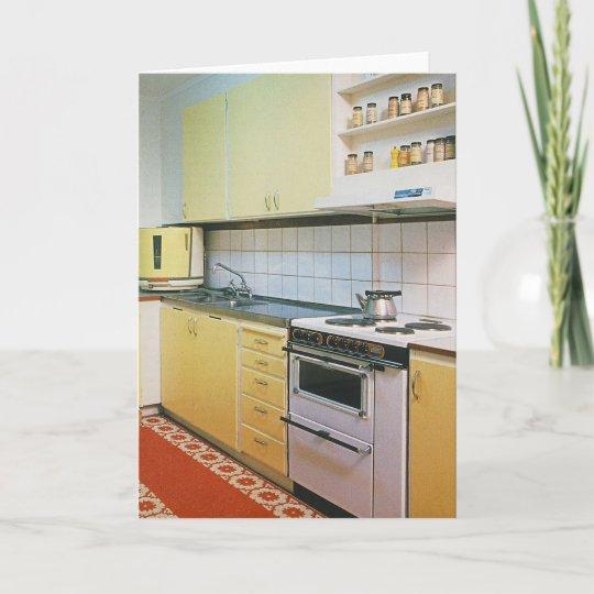 Retro Vintage 1950s Kitchen Blank Greeting Card
