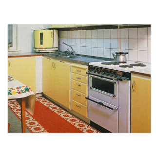 Retro Vintage 1950s Kitchen Scene Postcard