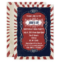 Retro Vintage 4th of july birthday invitations