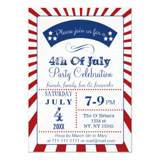 Retro Vintage 4th of july party invitations