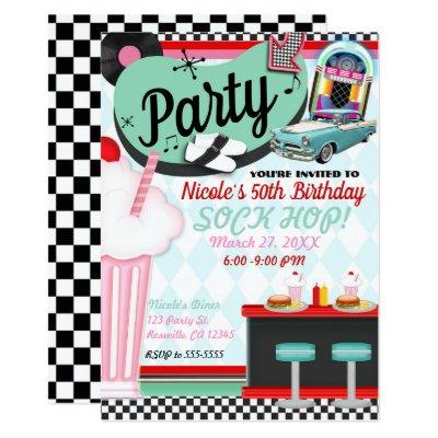 Sock Hop Fifties Dance Theme Party Invitations Zazzle Com
