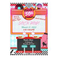 Retro Vintage 50's Fifties Diner Birthday Party Invitation