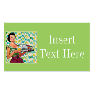 Retro Vintage 50's Housewife Holding Food Business Card